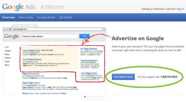 Google Adwords Website Call to Action