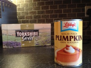 """As an American ex-pat in England, this can of Libby's and some hard work is the only way to get pumpkin pie around here. As proof that I live in England, I have also pictures the industrial-size box of tea that the government mandates you have at all times. "" from Jason W"